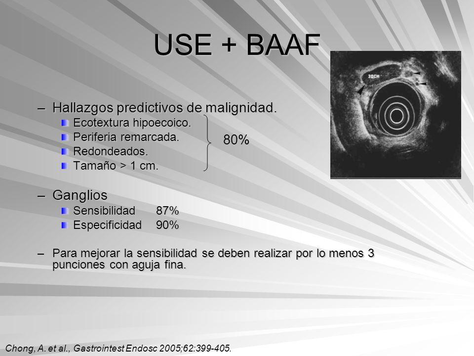 USE + BAAF –Hallazgos predictivos de malignidad. Ecotextura hipoecoico. Periferia remarcada. Redondeados. Tamaño > 1 cm. –Ganglios Sensibilidad87% Esp