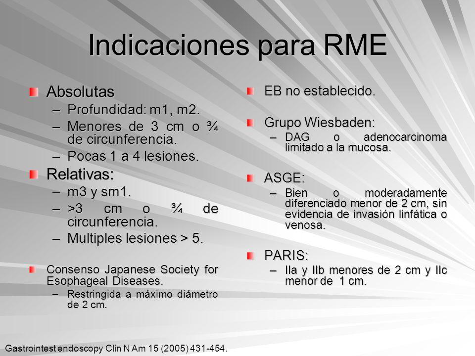 Indicaciones para RME Absolutas –Profundidad: m1, m2. –Menores de 3 cm o ¾ de circunferencia. –Pocas 1 a 4 lesiones. Relativas: –m3 y sm1. –>3 cm o ¾