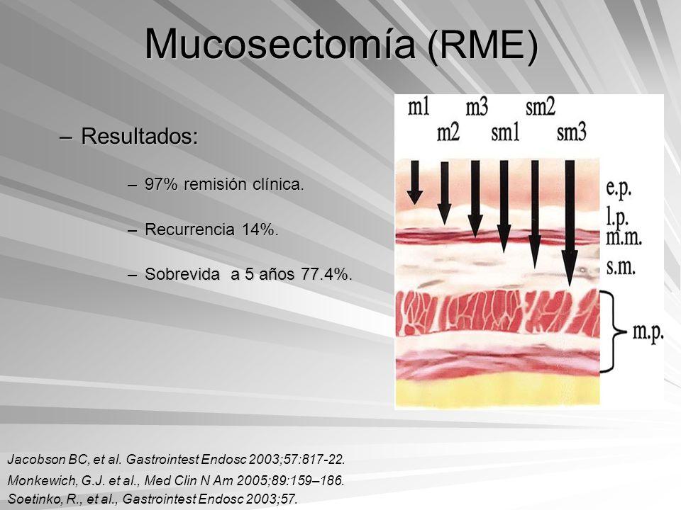 Mucosectomía (RME) –Resultados: –97% remisión clínica. –Recurrencia 14%. –Sobrevida a 5 años 77.4%. Jacobson BC, et al. Gastrointest Endosc 2003;57:81