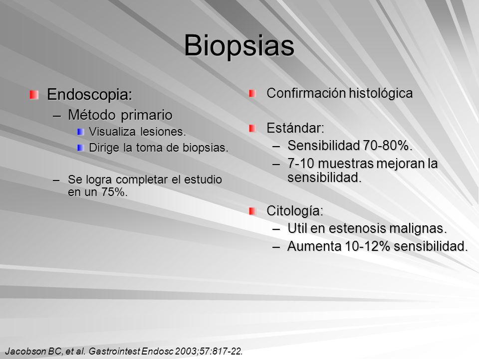 Biopsias Endoscopia: –Método primario Visualiza lesiones. Dirige la toma de biopsias. –Se logra completar el estudio en un 75%. Confirmación histológi