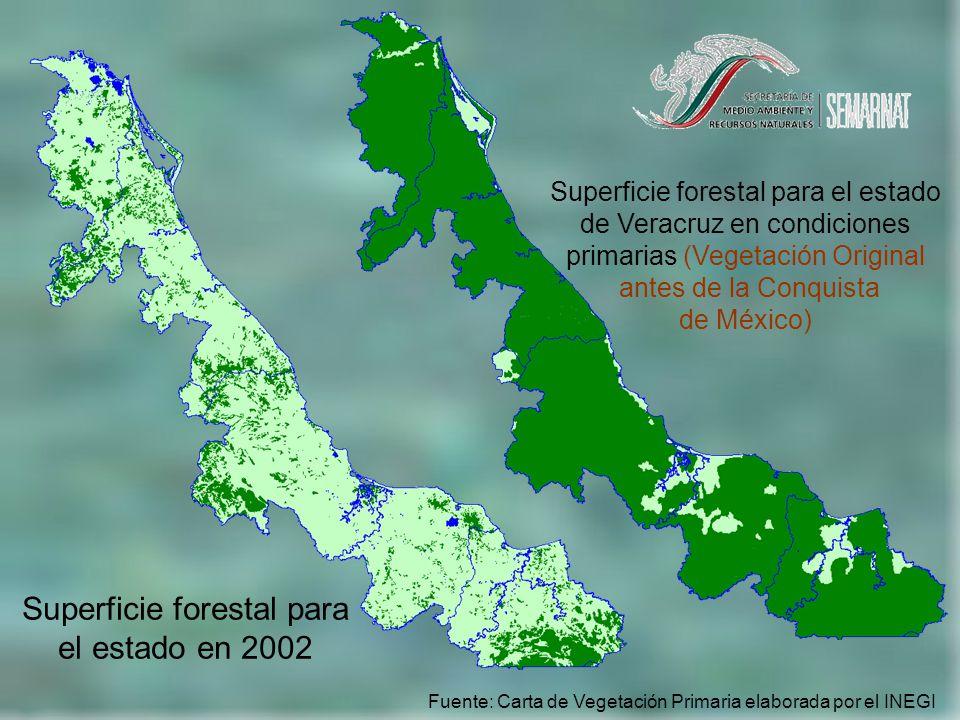 Superficie forestal para el estado de Veracruz en condiciones primarias (Vegetación Original antes de la Conquista de México) Fuente: Carta de Vegetación Primaria elaborada por el INEGI Superficie forestal para el estado en 2002