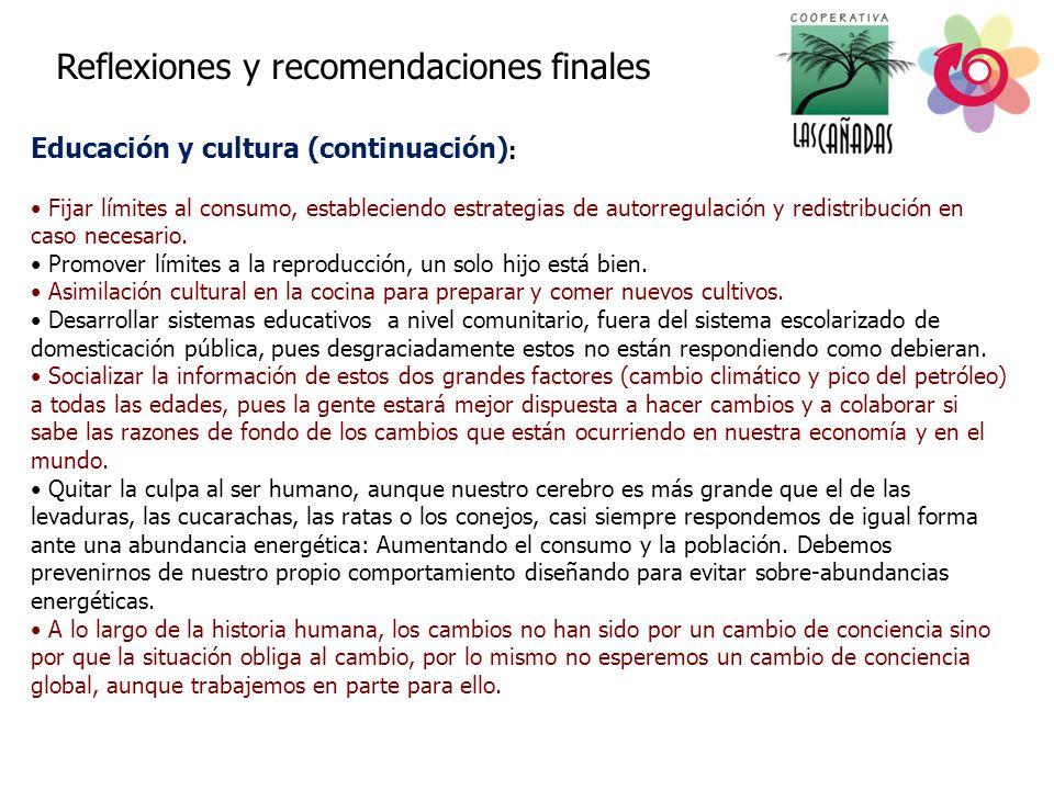 Reflexiones y recomendaciones finales Educación y cultura (continuación) : Fijar límites al consumo, estableciendo estrategias de autorregulación y redistribución en caso necesario.