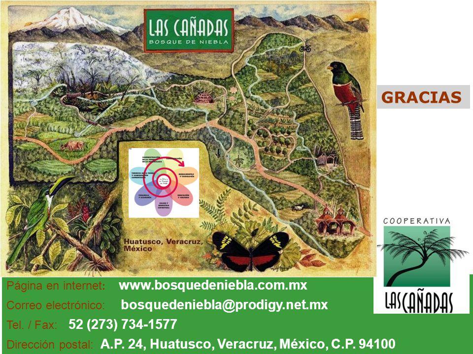 Página en internet : www.bosquedeniebla.com.mx Correo electrónico: bosquedeniebla@prodigy.net.mx Tel. / Fax: 52 (273) 734-1577 Dirección postal: A.P.