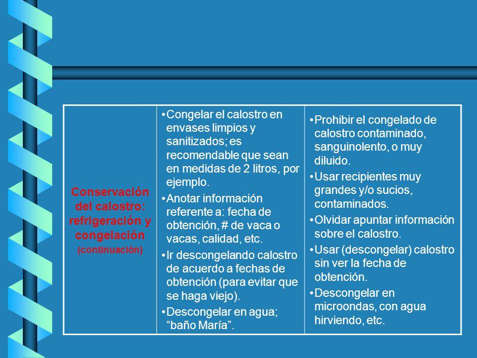 Conservación del calostro: refrigeración y congelación (continuación) Congelar el calostro en envases limpios y sanitizados; es recomendable que sean