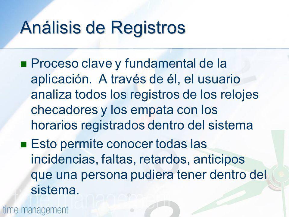 Análisis de Registros Proceso clave y fundamental de la aplicación. A través de él, el usuario analiza todos los registros de los relojes checadores y