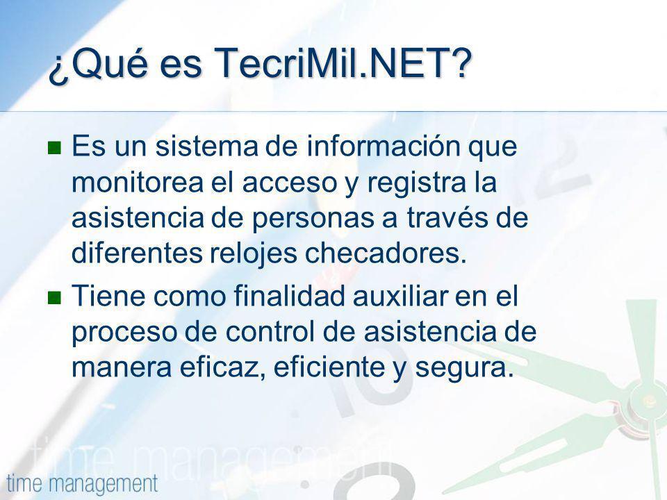 ¿Qué es TecriMil.NET? Es un sistema de información que monitorea el acceso y registra la asistencia de personas a través de diferentes relojes checado