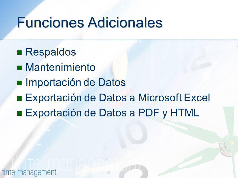 Funciones Adicionales Respaldos Mantenimiento Importación de Datos Exportación de Datos a Microsoft Excel Exportación de Datos a PDF y HTML