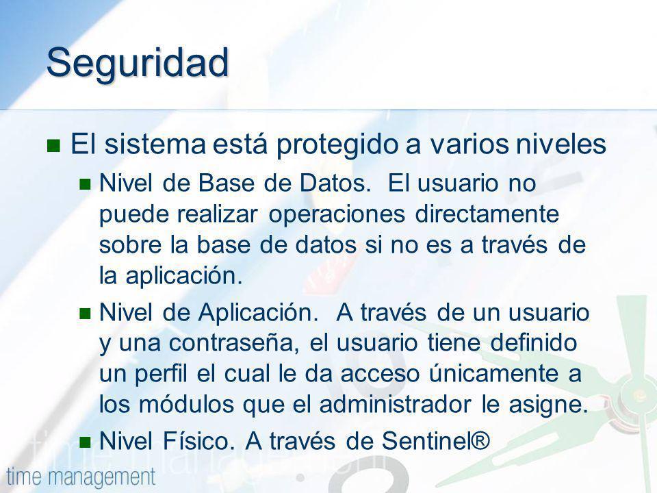 Seguridad El sistema está protegido a varios niveles Nivel de Base de Datos. El usuario no puede realizar operaciones directamente sobre la base de da