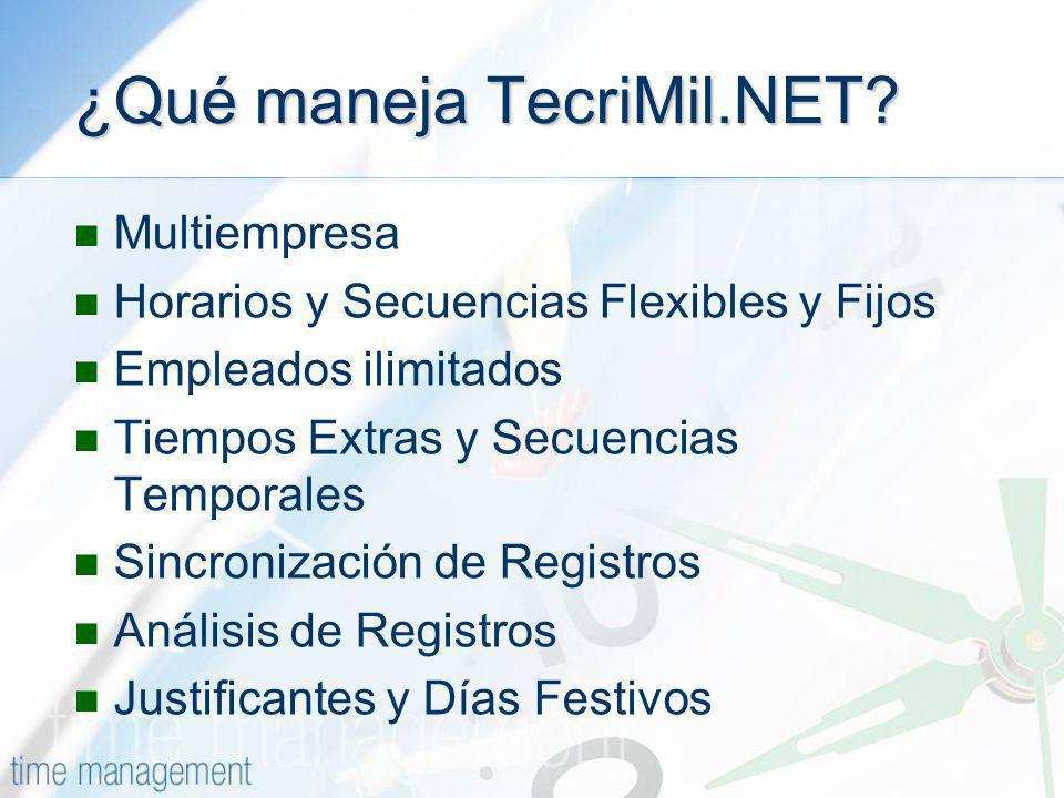 ¿Qué maneja TecriMil.NET? Multiempresa Horarios y Secuencias Flexibles y Fijos Empleados ilimitados Tiempos Extras y Secuencias Temporales Sincronizac