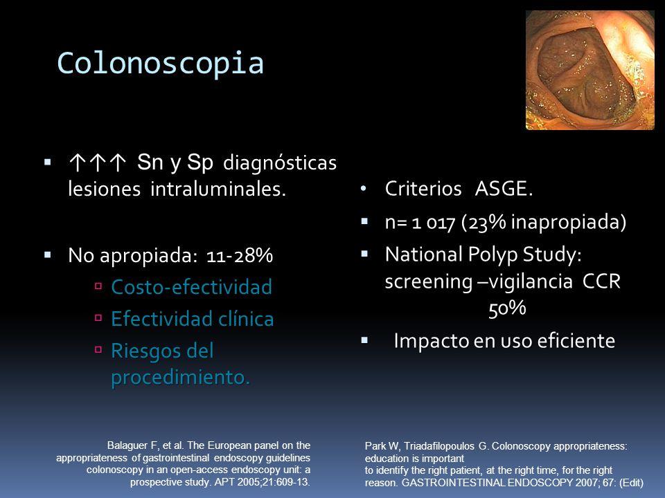 Colonoscopia Sn y Sp diagnósticas lesiones intraluminales. Sn y Sp diagnósticas lesiones intraluminales. No apropiada: 11-28% No apropiada: 11-28% Cos