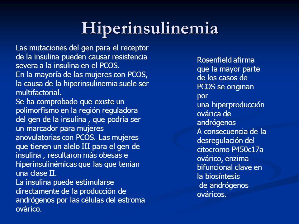 Hiperinsulinemia Las mutaciones del gen para el receptor de la insulina pueden causar resistencia severa a la insulina en el PCOS. En la mayoría de la