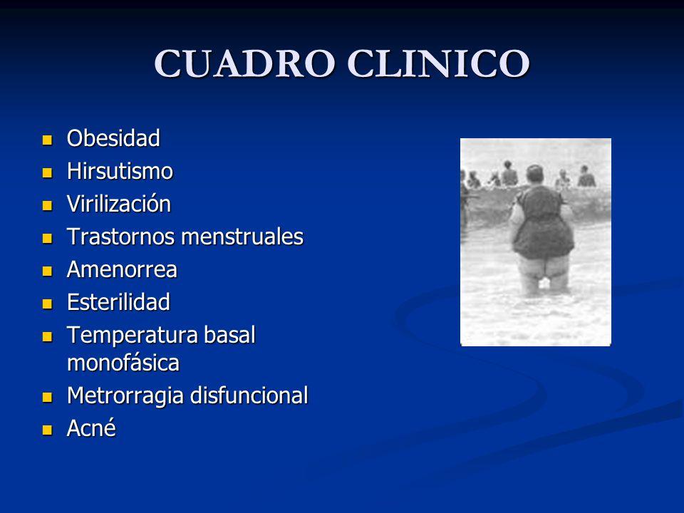 CUADRO CLINICO Obesidad Obesidad Hirsutismo Hirsutismo Virilización Virilización Trastornos menstruales Trastornos menstruales Amenorrea Amenorrea Est