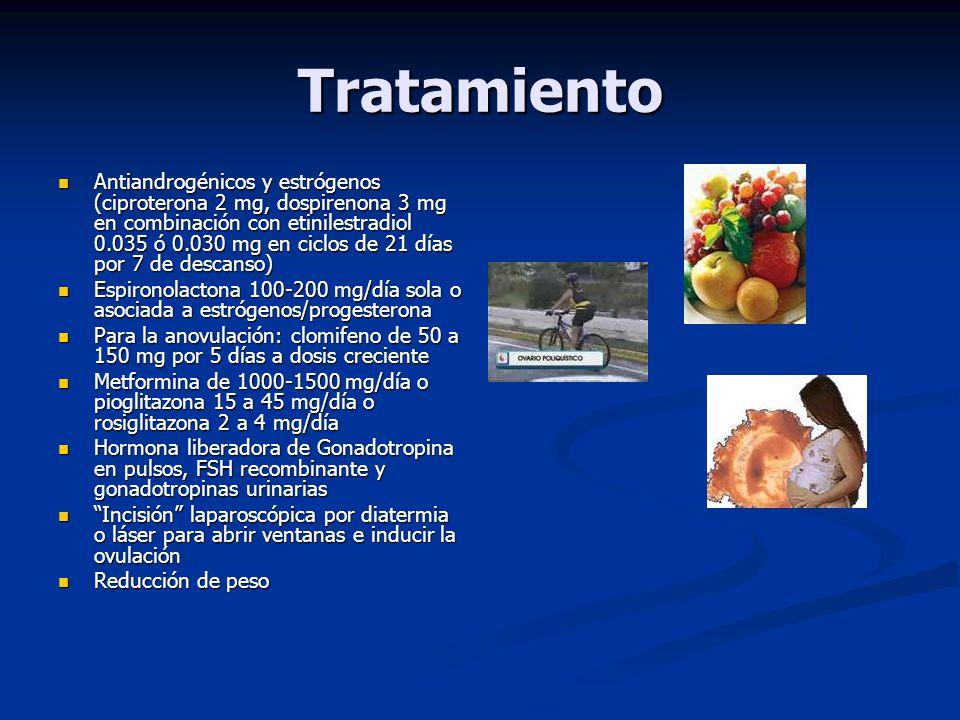 Tratamiento Antiandrogénicos y estrógenos (ciproterona 2 mg, dospirenona 3 mg en combinación con etinilestradiol 0.035 ó 0.030 mg en ciclos de 21 días