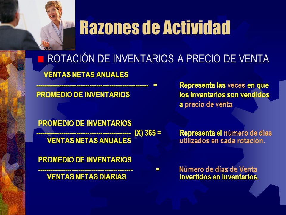 Razones de Actividad ROTACIÓN DE INVENTARIOS A PRECIO DE VENTA VENTAS NETAS ANUALES ---------------------------------------------------- = Representa