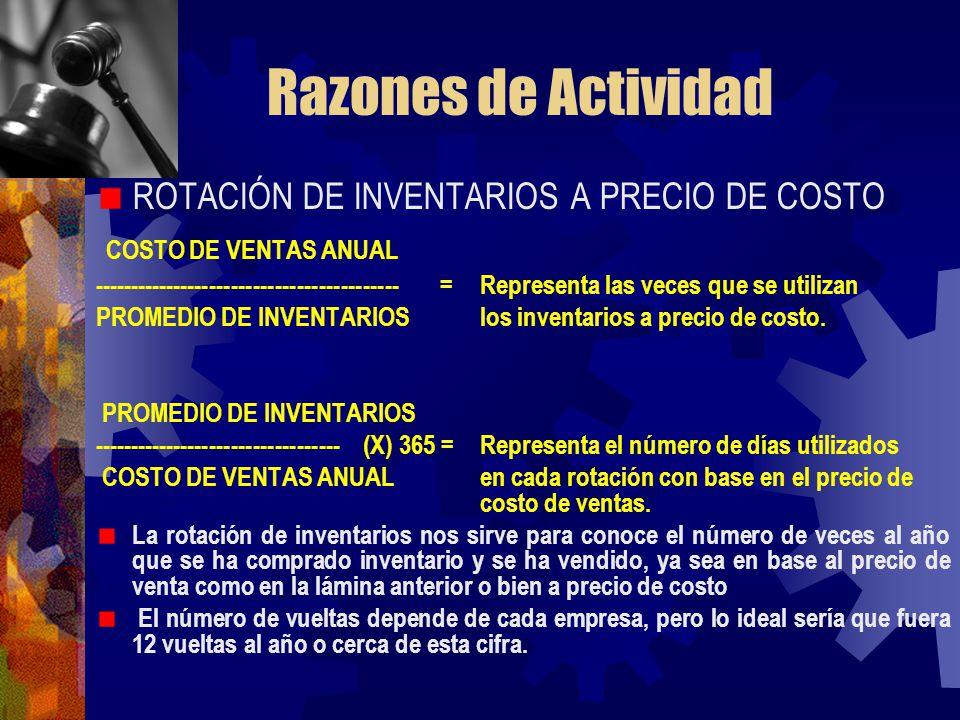Razones de Actividad ROTACIÓN DE INVENTARIOS A PRECIO DE COSTO COSTO DE VENTAS ANUAL ------------------------------------------ = Representa las veces
