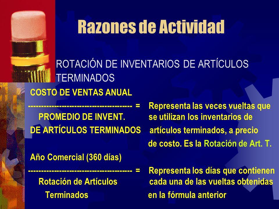 Razones de Actividad ROTACIÓN DE INVENTARIOS DE ARTÍCULOS TERMINADOS COSTO DE VENTAS ANUAL ----------------------------------------- = Representa las