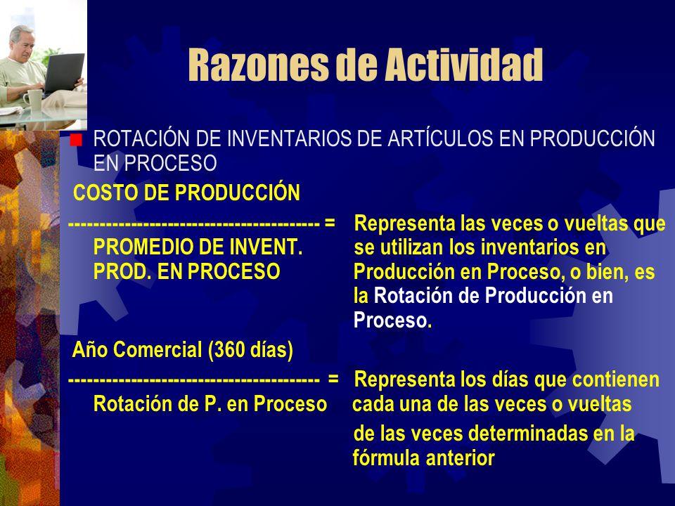 Razones de Actividad ROTACIÓN DE INVENTARIOS DE ARTÍCULOS EN PRODUCCIÓN EN PROCESO COSTO DE PRODUCCIÓN ----------------------------------------- = Rep