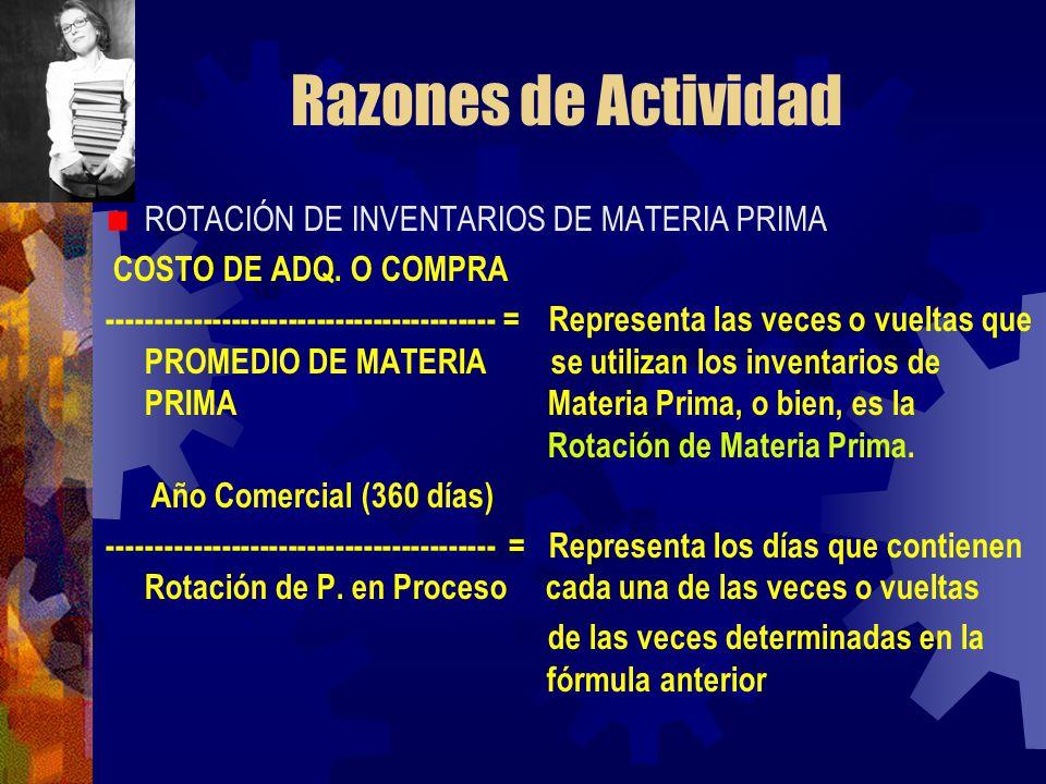 Razones de Actividad ROTACIÓN DE INVENTARIOS DE MATERIA PRIMA COSTO DE ADQ. O COMPRA ----------------------------------------- = Representa las veces