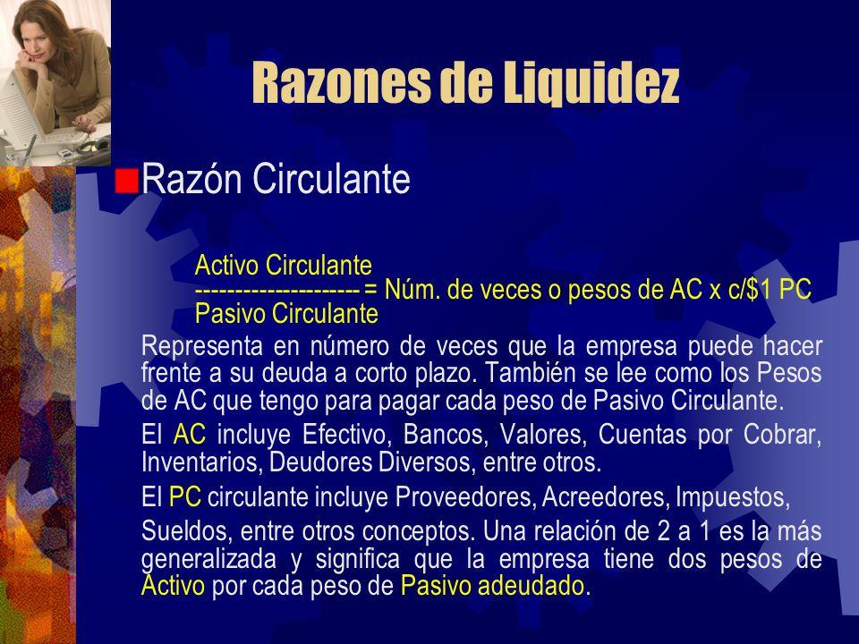 Razones de Liquidez Razón Circulante Activo Circulante --------------------- = Núm. de veces o pesos de AC x c/$1 PC Pasivo Circulante Representa en n