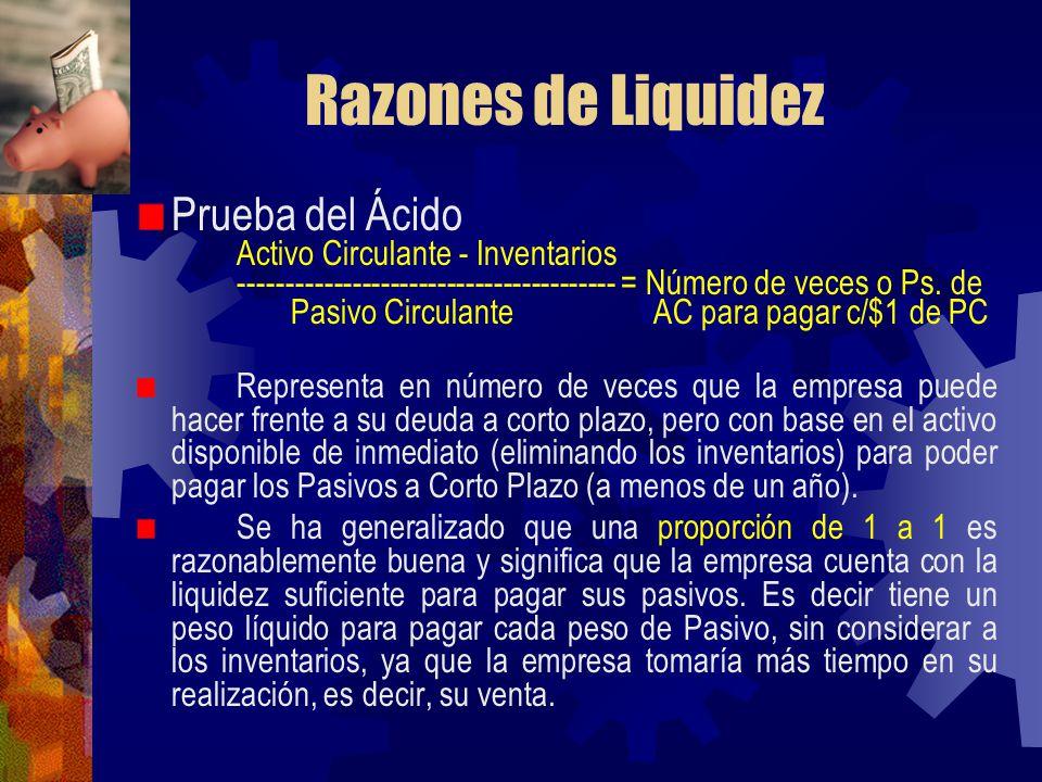 Razones de Liquidez Prueba del Ácido Activo Circulante - Inventarios ---------------------------------------- = Número de veces o Ps. de Pasivo Circul
