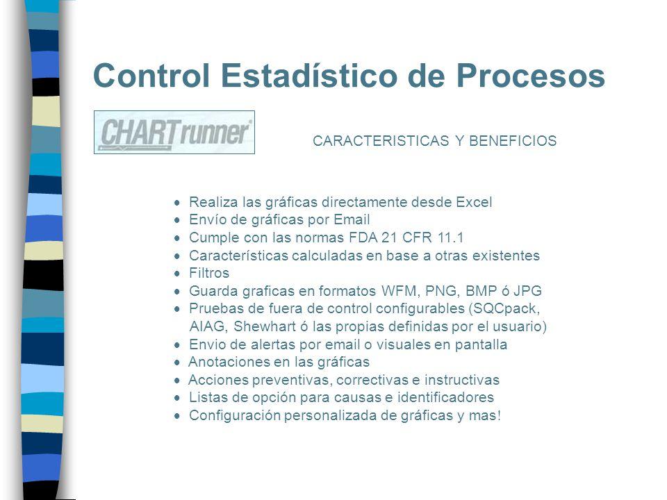 Control Estadístico de Procesos CARACTERISTICAS Y BENEFICIOS Realiza las gráficas directamente desde Excel Envío de gráficas por Email Cumple con las
