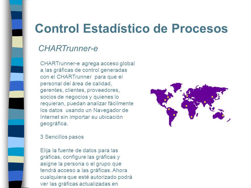 Control Estadístico de Procesos CHARTrunner-e CHARTrunner-e agrega acceso global a las gráficas de control generadas con el CHARTrunner para que el pe