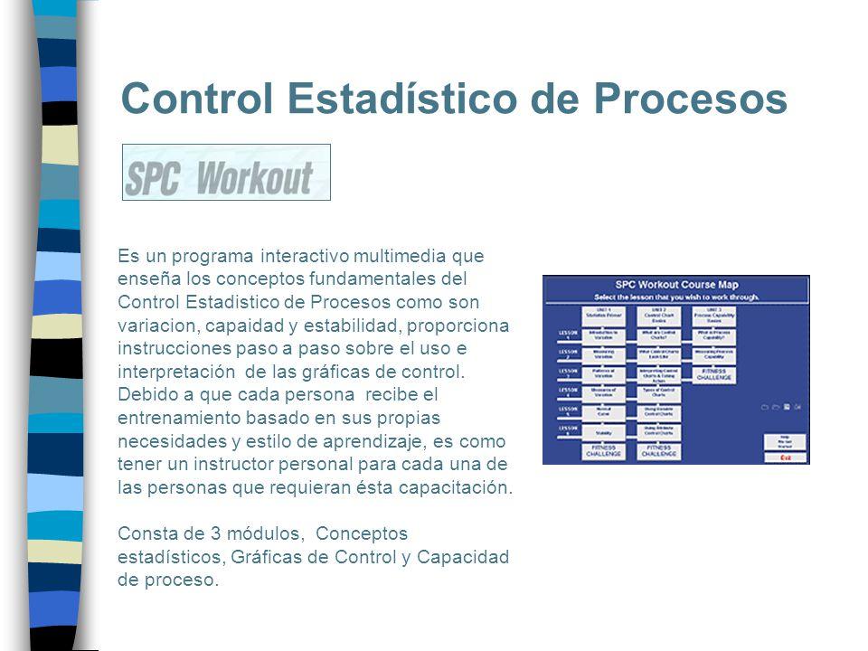 Control Estadístico de Procesos Es un programa interactivo multimedia que enseña los conceptos fundamentales del Control Estadistico de Procesos como