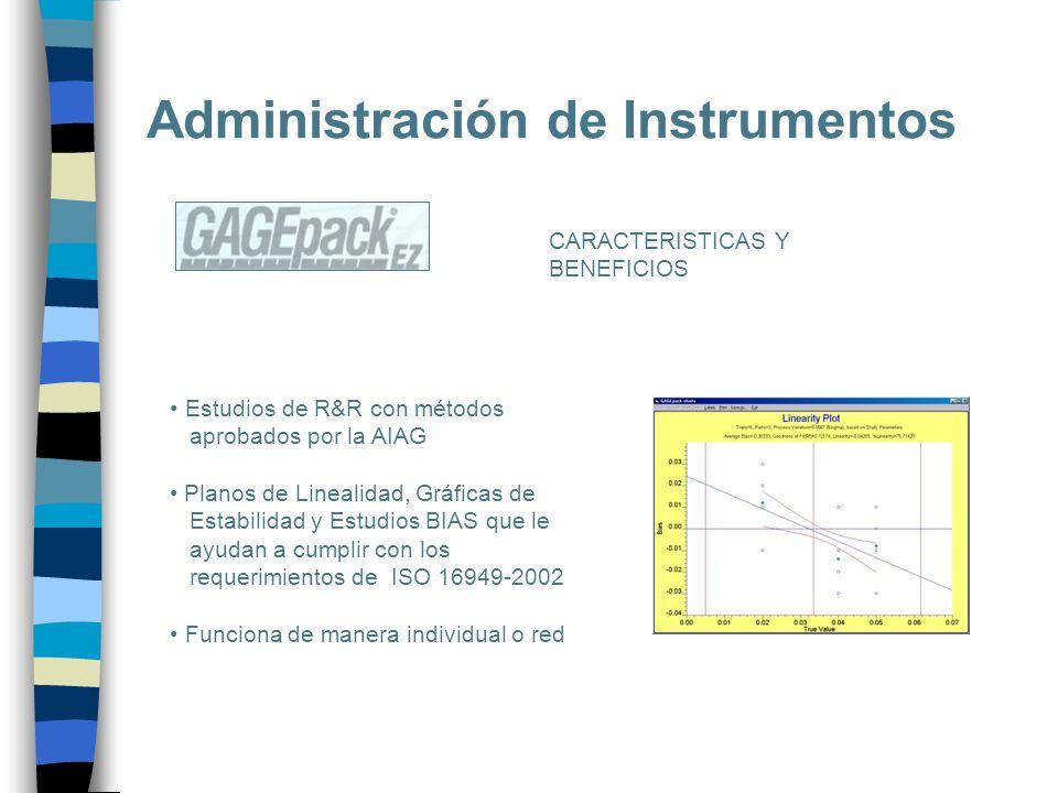Administración de Instrumentos CARACTERISTICAS Y BENEFICIOS Estudios de R&R con métodos aprobados por la AIAG Planos de Linealidad, Gráficas de Estabi