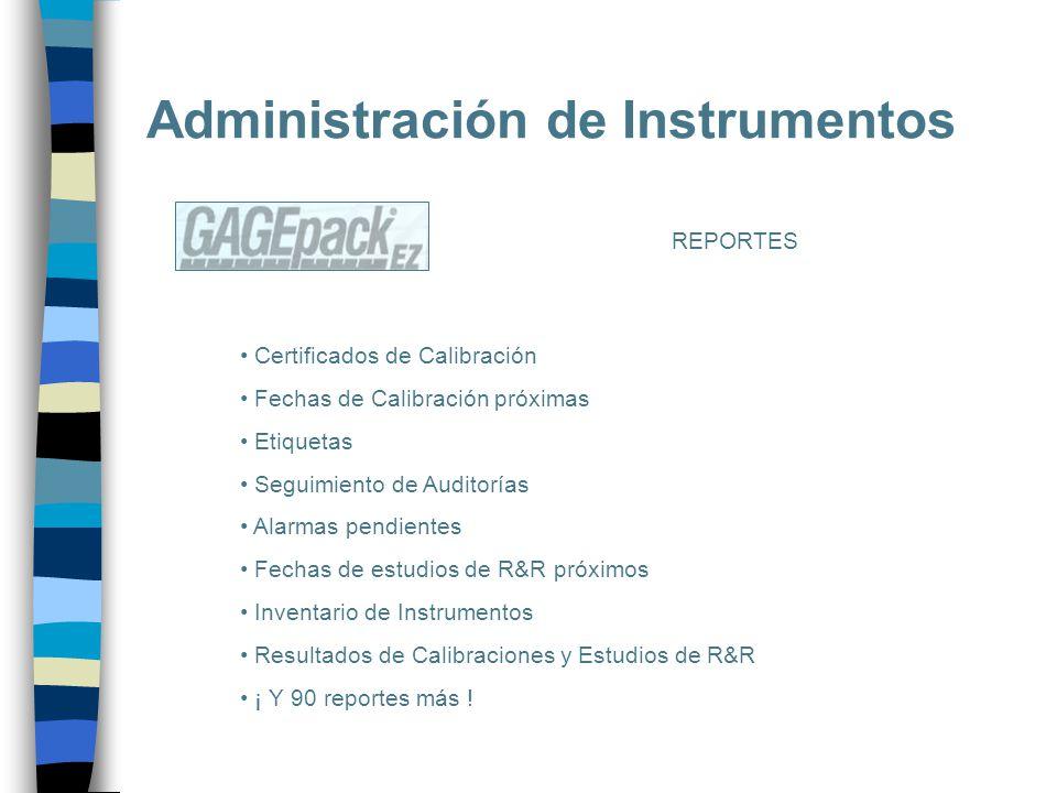 Administración de Instrumentos REPORTES Certificados de Calibración Fechas de Calibración próximas Etiquetas Seguimiento de Auditorías Alarmas pendien