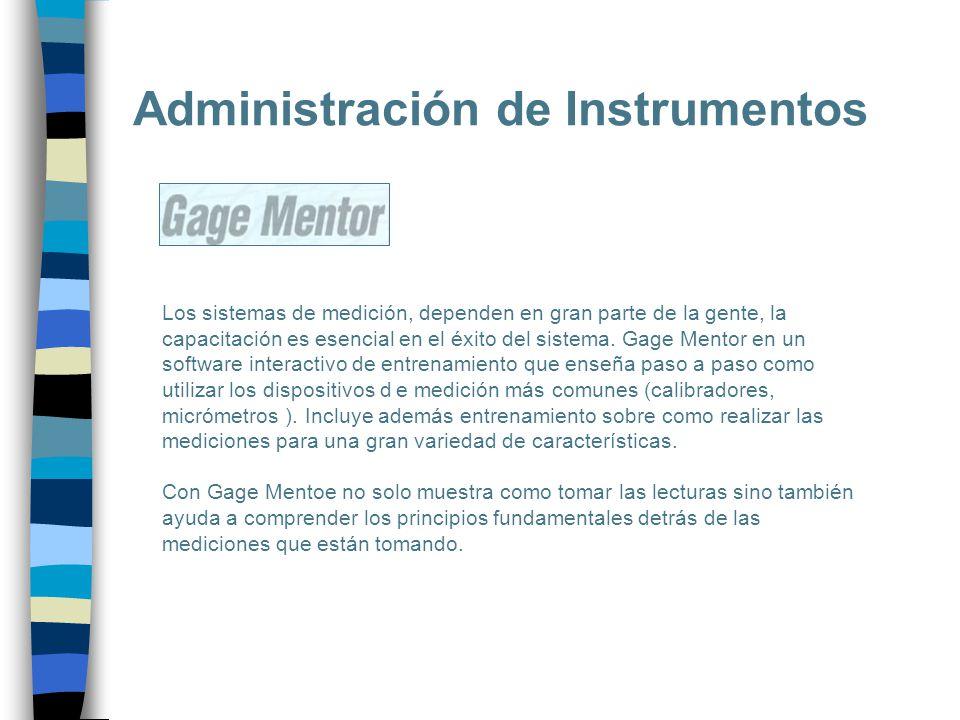 Administración de Instrumentos Los sistemas de medición, dependen en gran parte de la gente, la capacitación es esencial en el éxito del sistema. Gage
