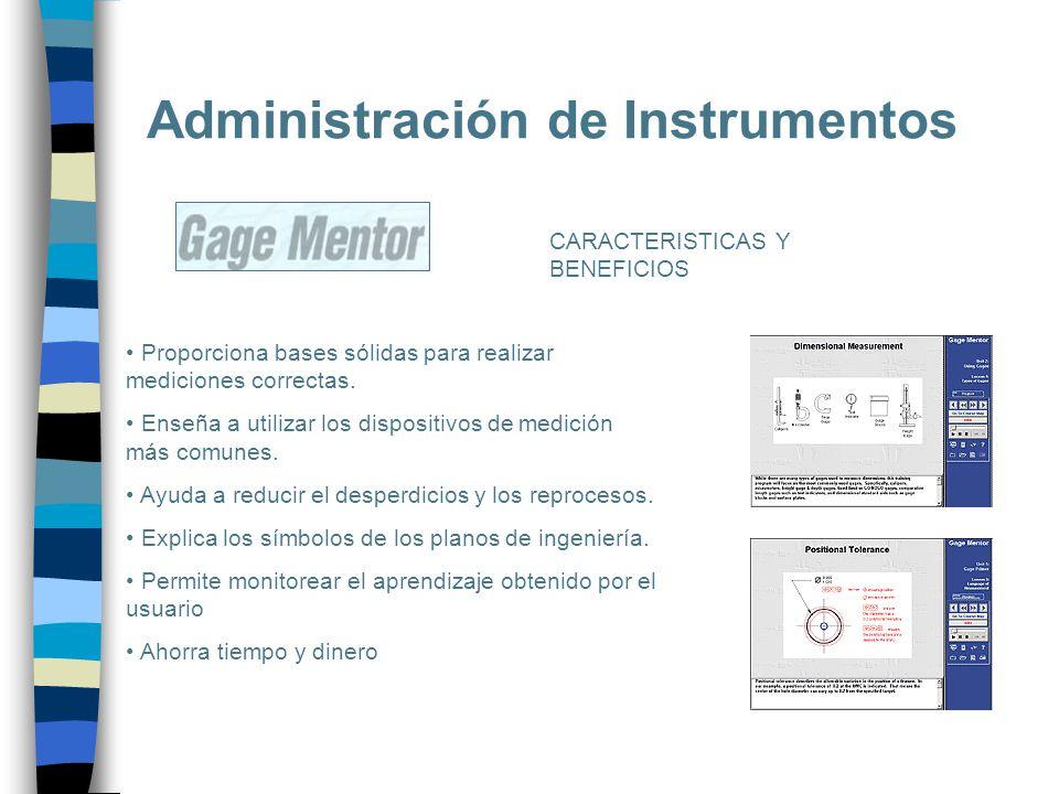 Administración de Instrumentos Proporciona bases sólidas para realizar mediciones correctas. Enseña a utilizar los dispositivos de medición más comune