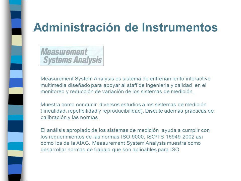 Administración de Instrumentos Measurement System Analysis es sistema de entrenamiento interactivo multimedia diseñado para apoyar al staff de ingenie