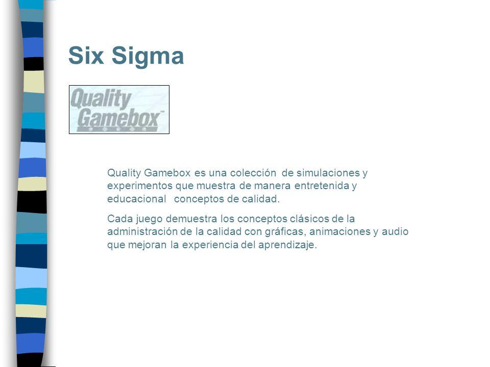 Six Sigma Quality Gamebox es una colección de simulaciones y experimentos que muestra de manera entretenida y educacional conceptos de calidad. Cada j