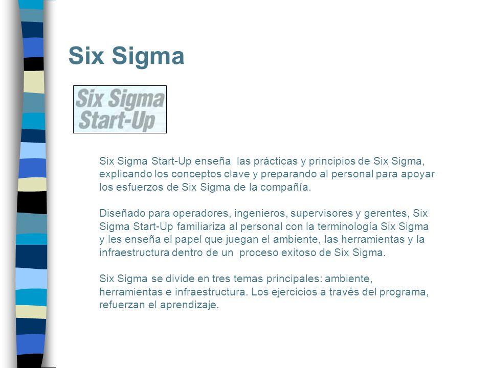 Six Sigma Six Sigma Start-Up enseña las prácticas y principios de Six Sigma, explicando los conceptos clave y preparando al personal para apoyar los e