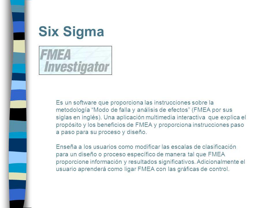 Six Sigma Es un software que proporciona las instrucciones sobre la metodología Modo de falla y análisis de efectos (FMEA por sus siglas en inglés). U