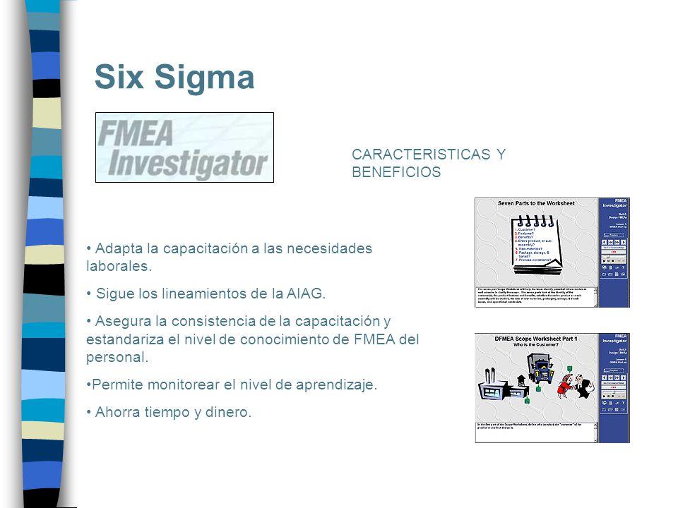 Six Sigma Adapta la capacitación a las necesidades laborales. Sigue los lineamientos de la AIAG. Asegura la consistencia de la capacitación y estandar
