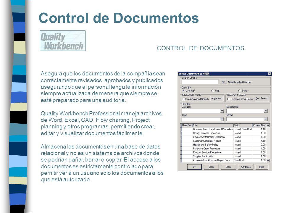 Control de Documentos Asegura que los documentos de la compañía sean correctamente revisados, aprobados y publicados asegurando que el personal tenga