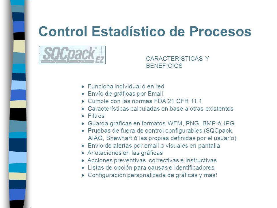 Control Estadístico de Procesos CARACTERISTICAS Y BENEFICIOS Funciona individual ó en red Envío de gráficas por Email Cumple con las normas FDA 21 CFR