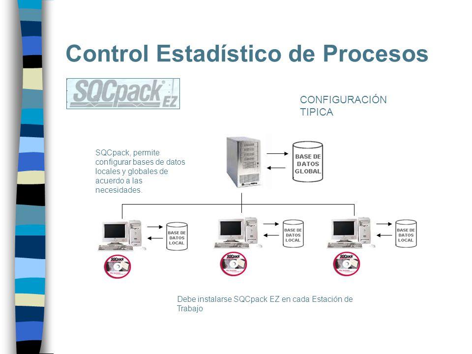 Control Estadístico de Procesos CONFIGURACIÓN TIPICA SQCpack, permite configurar bases de datos locales y globales de acuerdo a las necesidades. Debe