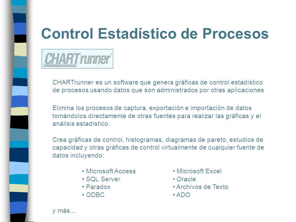 Control Estadístico de Procesos CHARTrunner es un software que genera gráficas de control estadístico de procesos usando datos que son administrados p