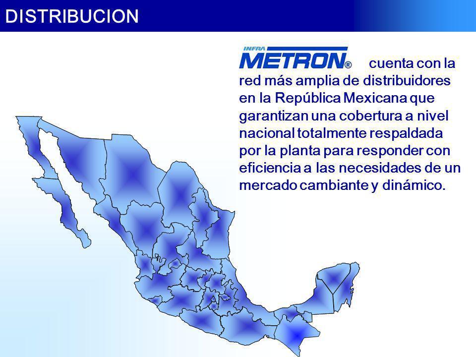 DISTRIBUCION cuenta con la red más amplia de distribuidores en la República Mexicana que garantizan una cobertura a nivel nacional totalmente respalda