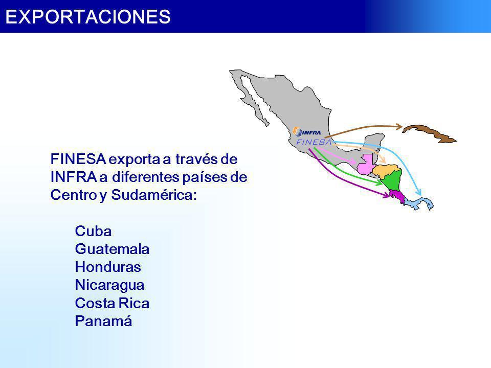 EXPORTACIONES FINESA exporta a través de INFRA a diferentes países de Centro y Sudamérica: Cuba Guatemala Honduras Nicaragua Costa Rica Panamá