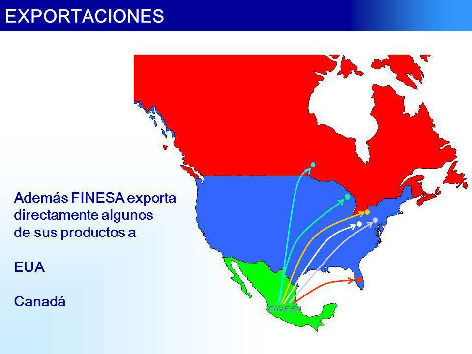 EXPORTACIONES Además FINESA exporta directamente algunos de sus productos a EUA Canadá