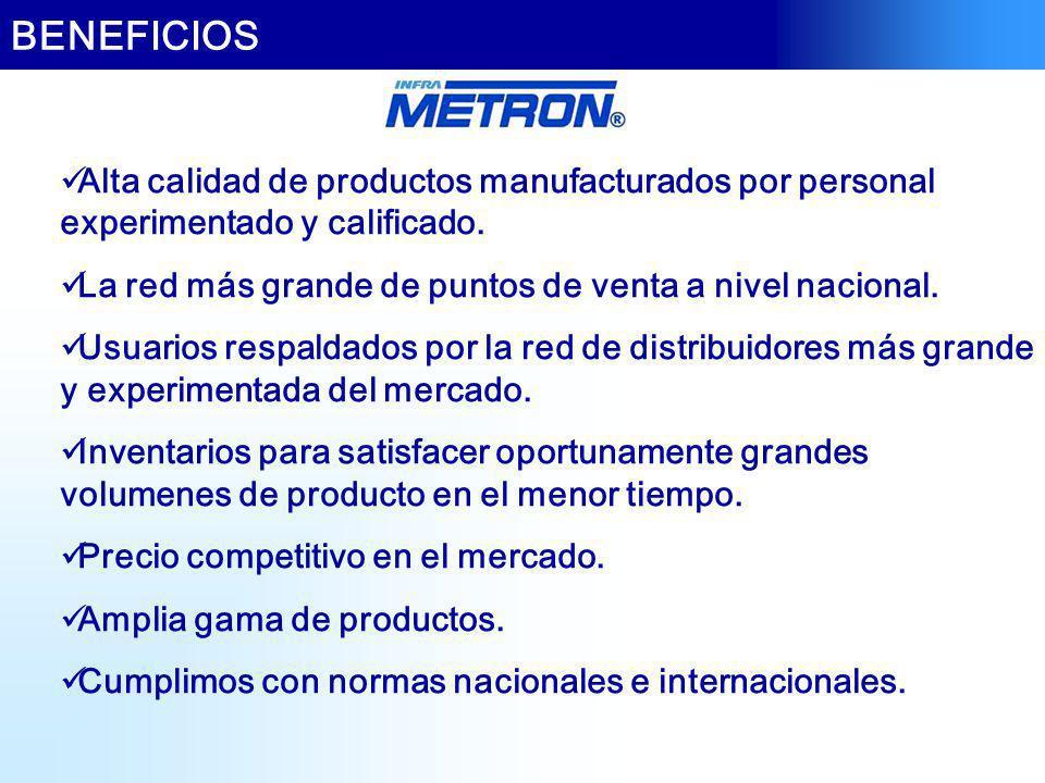 Alta calidad de productos manufacturados por personal experimentado y calificado. La red más grande de puntos de venta a nivel nacional. Usuarios resp