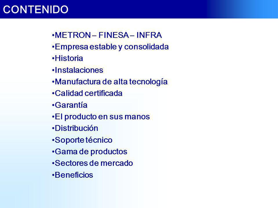 CONTENIDO METRON – FINESA – INFRA Empresa estable y consolidada Historia Instalaciones Manufactura de alta tecnología Calidad certificada Garantía El