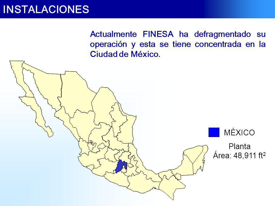 Actualmente FINESA ha defragmentado su operación y esta se tiene concentrada en la Ciudad de México. INSTALACIONES MÉXICO Planta Área: 48,911 ft 2