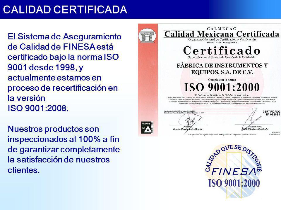 El Sistema de Aseguramiento de Calidad de FINESA está certificado bajo la norma ISO 9001 desde 1998, y actualmente estamos en proceso de recertificaci