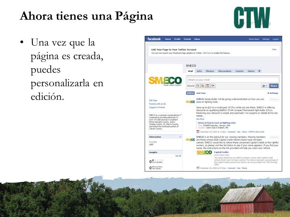 Ahora tienes una Página Una vez que la página es creada, puedes personalizarla en edición.