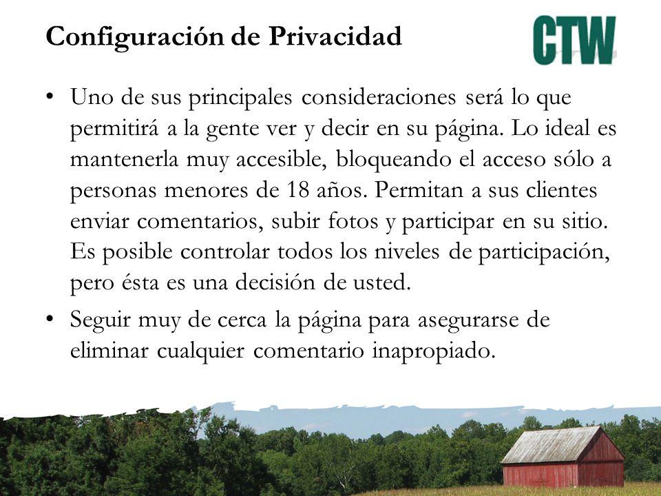 Configuración de Privacidad Uno de sus principales consideraciones será lo que permitirá a la gente ver y decir en su página.