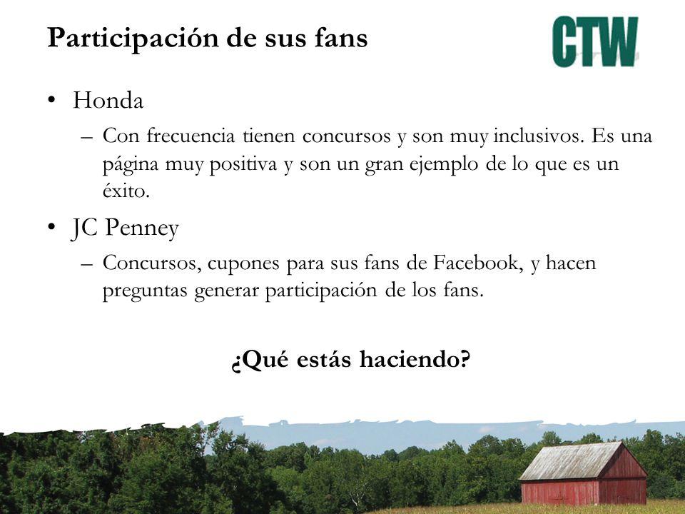 Participación de sus fans Honda –Con frecuencia tienen concursos y son muy inclusivos.